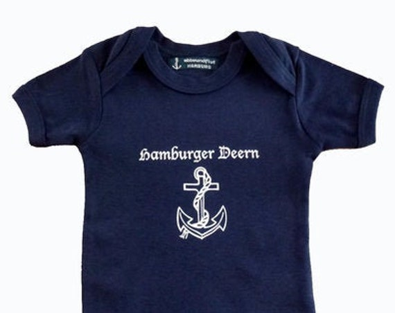 Baby Body Hamburger Deern - Dark Blue - Fair Trade - Hamburg Gifts, Birth Gift, Baby Gift, Baby Romper Anchor