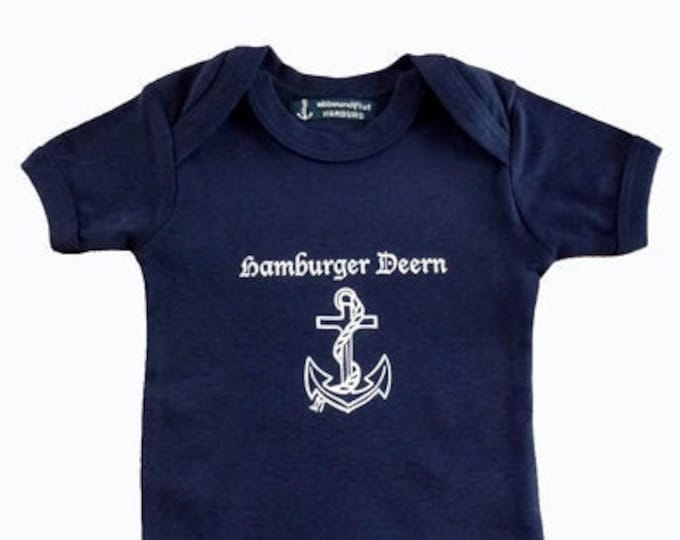 Baby Body Hamburger Deern - Dark Blue - Fair Trade - Hamburg Gifts, Birth Gift, Baby Gift, Baby Romper Anchor Hamburg