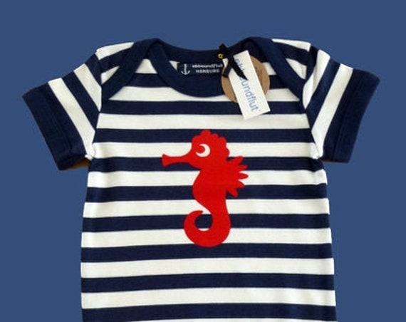 Maritime Baby Body Seahorse Blue White Striped - Fair Trade &Organic - Baby Gift for Birth, Baby Trample Seahorse