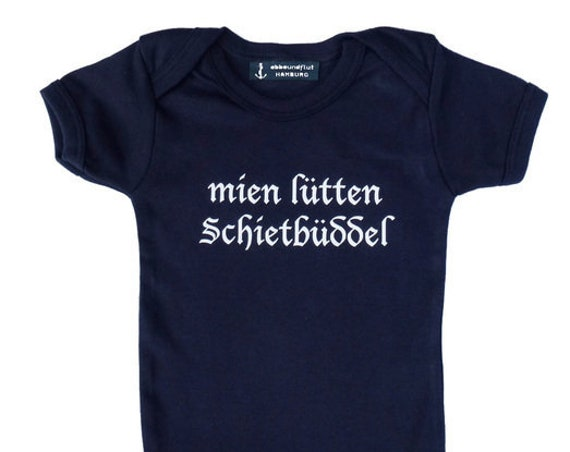 "Baby Bodysuit ""mien lütten Schietbüddel"" - Fair Trade & Organic - Hamburger Jung, Baby Gift for Birth, Hamburg, Plattdeutsch, Schietbüdel"