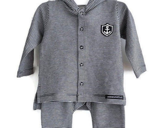 "Baby set ""Little Captain""-baby jacket, baby pants-blue/white striped-Fair Trade, Organic, Gift to Birth, Maritimes Set, Anchor"