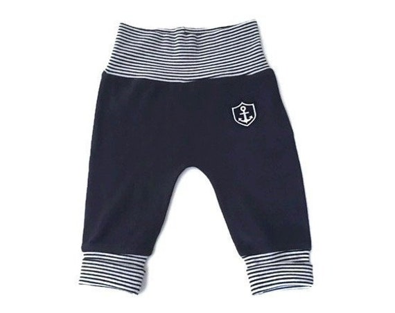 Baby pants anchor-blue white-with folding cuffs, fair trade, organic, pumphosis, maritime, baby gift, baby pants, Hamburg