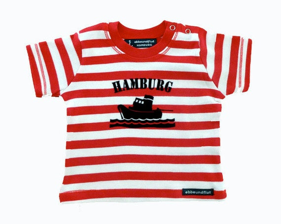 Maritime baby shirt SCHLEPPER HAMBURG - fair - red/white striped, Hamburg gifts, gift for birth, baby gift Hamburg