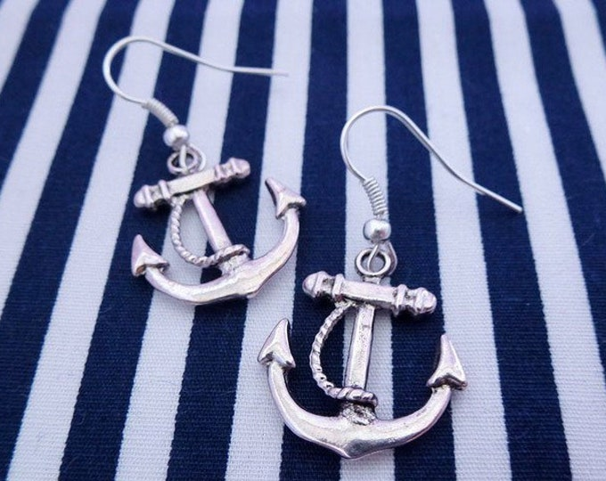 Hamburger Bridal-earrings Anchor silver, ear hook-anchor earrings, anchor love, anchor, bride, hamburg, Hamburger Deern