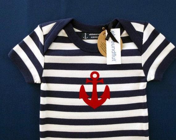 Maritime Baby Body Anchor - Fair Trade & Organic - Hamburg Gift, Baby Gift at Birth, Baby Romper Anchor, Blue White Striped