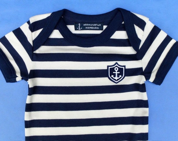 "Maritime Baby Body ""Little Captain"" - Fair Trade, Hamburg Gifts, Birth Gift, Baby Gift, Baby Body Anchor"