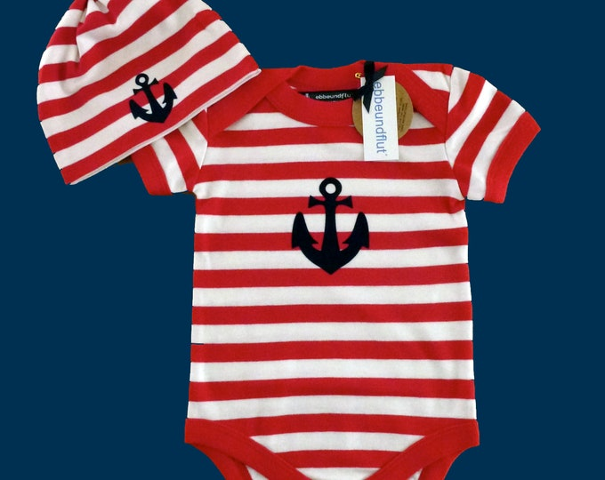Maritime Baby Bodysuit & Hats ANKER - fair - red and white - Hamburg gifts, gift for birth, baby, baby romper, baby set, baby party