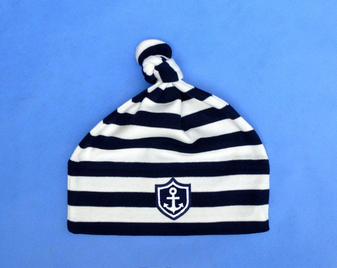 "Baby guns ""Little Captain""-striped blue-Fair Trade, Hamburg gifts, gift to birth, baby, baby party, baby gift, cap"