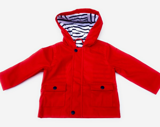 rain jacket, frieze ore, red, lined, blue white striped, baby jacket, baby rain jacket, red jacket, waterproof, lined