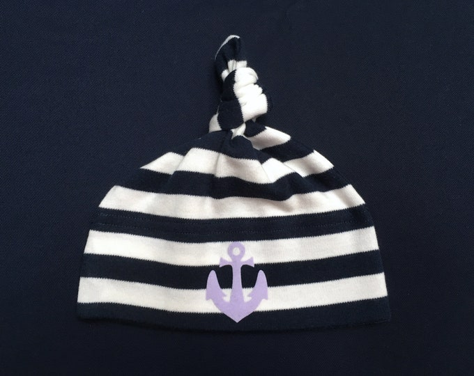 Maritime Baby hats Anchor hamburg-blue-white Striped-lilac knot cap, baby cap, anchor, anchor love, hamburg, gift for birth