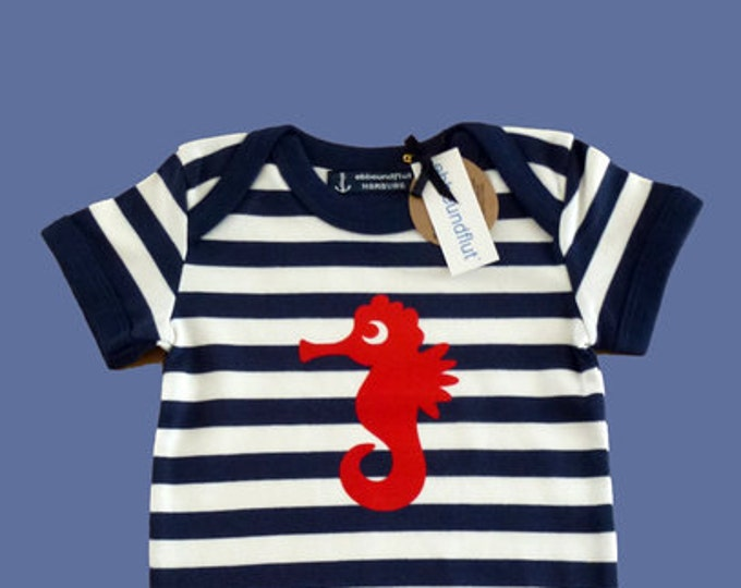 Maritime Baby Body Seahorse-FAIR TRADE-Blue White Striped, Gift to Birth, Baby, Baby Gift, Baby Runder