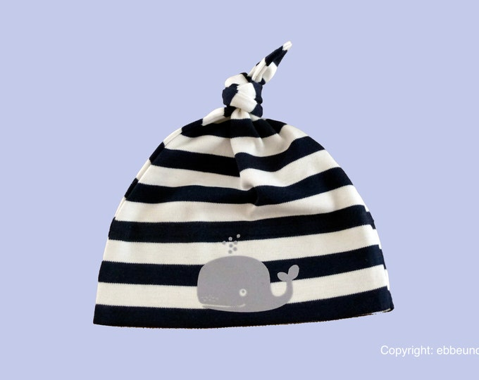 Maritimes Baby hat Wal-Fair Trade-Hamburg gifts, gift for birth, baby, baby hats, striped knot cap