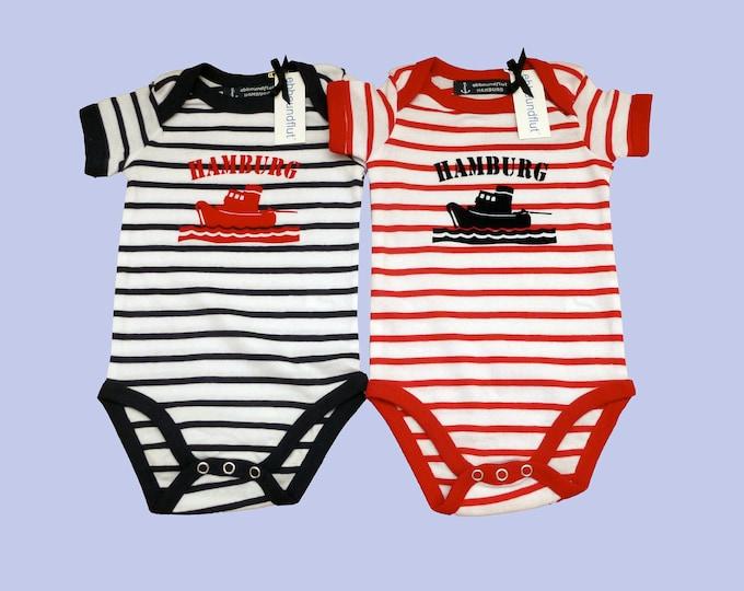 Twin Spack: Baby Bodys SCHLEPPER HAMBURG-Fair Trade-Baby Set, Gift to Birth, Twins, Twins, Baby strampler Striped