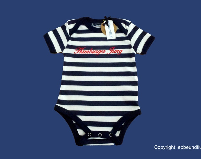 Maritime Baby-Body Hamburger Jung-fair trade-blue white, Hamburg gift, gift for birth, baby gift, baby romper suits Hamburg