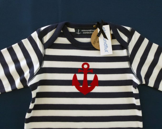 Maritime baby romper ANKER HAMBURG - fair - Hamburg gifts, gift for birth, baby romper, baby suit blue-white striped anchor