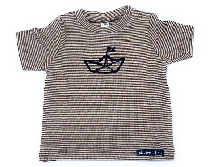Maritime Baby Shirt Paper Ships-maron/White Striped-Fair & Bio, Baby Gift, Birth, Baby Shirt, Shirt Striped, Paper Ship