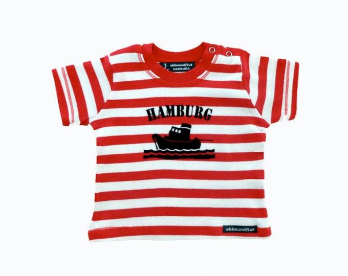 Maritimes baby-shirt tug Hamburg-fair-red/white striped, Hamburg gifts, gift for birth, souvenir, baby, toddler, flock