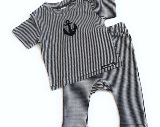 Maritime Baby-set Anchor-blue/white-fair & bio-baby, gift for birth, Babyshirt anchor, shirt striped, set anchor, organic cotton