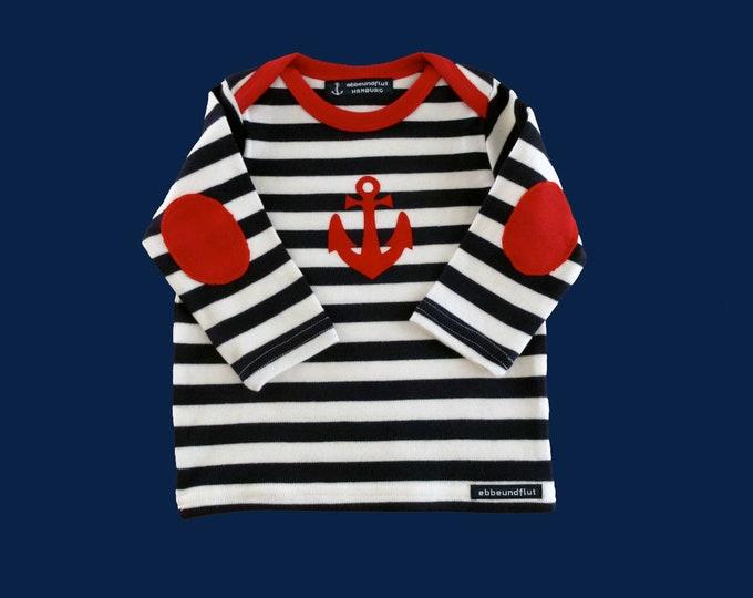 Maritime baby long sleeve shirt ANKER HAMBURG - fair - blue and white striped - Hamburg gifts, gift for birth, baby shirt, kids shirt