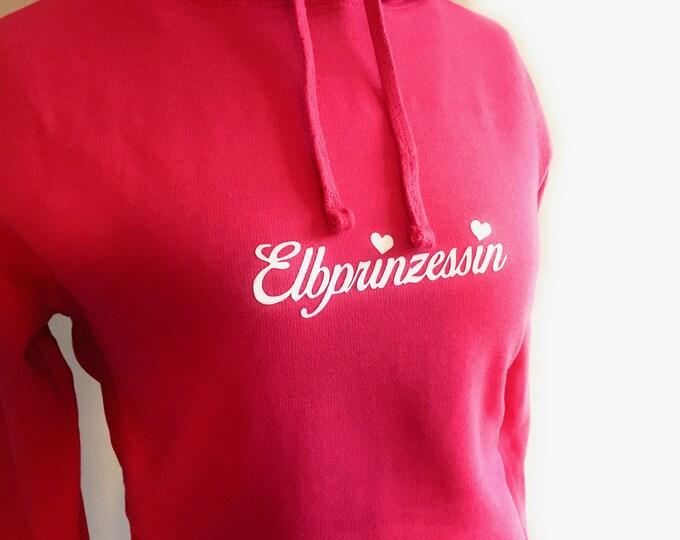 Women's Long Hoodie Elbe Princess - XS, S, M, L, XL - pink, hoodie, hooded dress, longhoodie, Elbe, princess, Hamburg, Dresden