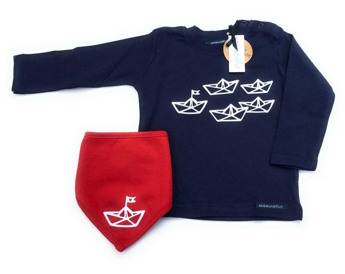 "Boys Set ""Paper Ships"" Long Sleeve Shirt & Neck Scarf Blue/Red - Fair Trade - Shirt maritim, Boats, Sweater, Cloth, Set, Hamburg Gift"