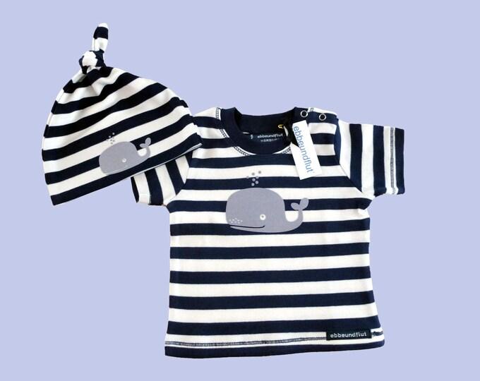 Maritimes Baby-shirt & Hat wal-fair Trade-hamburg gift, baby gift, baby set, set, wal, anker, Fair trade, hamburg, Babyshirt