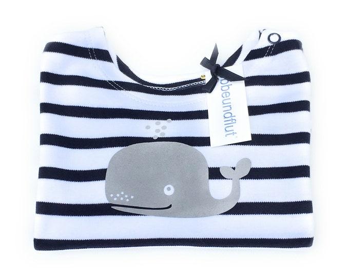 Maritime Baby Shirt WAL-Blue White Striped-Hamburg Shirt, Gift to Birth, Long sleeve Shirt, Whales