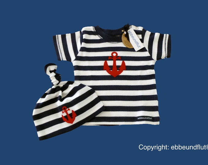 Maritimes baby-shirt & Cap Anchor Hamburg-fair-Hamburg gift, gift for birth, baby, Babyshirt, baby set, knot cap, baby shower