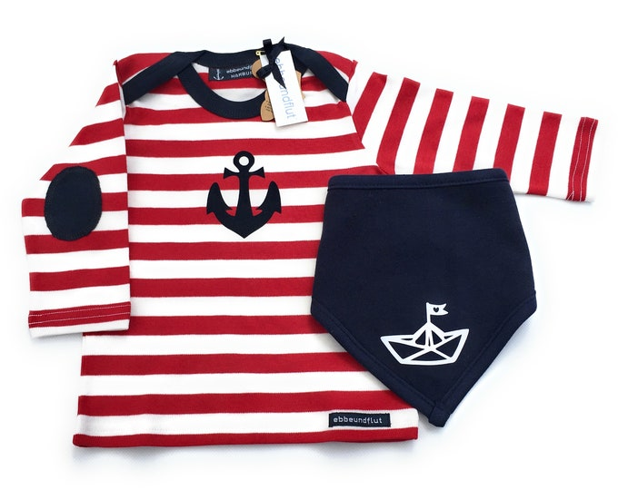Maritime Seam Long Sleeve Shirt Anchor & Cloth Paper Ship in Red/White/Blue - fair - Hamburg Gifts, Gift for Birth, Christmas