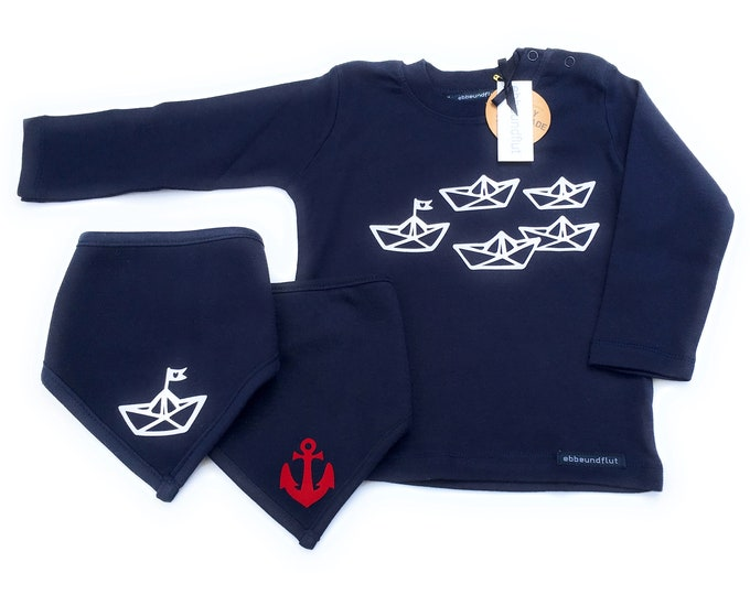 "Boys Set ""Paper Ships"" Long Sleeve Shirt & Neck Scarves Blue/White/ Red - Fair Trade - Maritime Set, Set of 3, Boats, Anchor, Hamburg Gift"