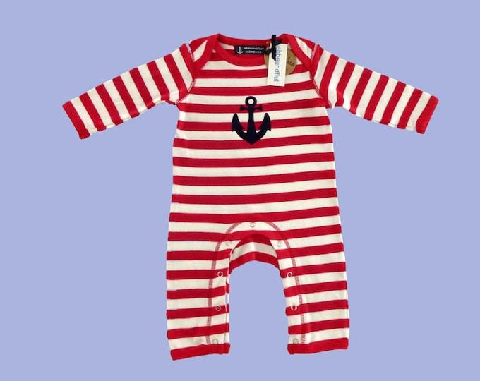 Maritime baby strampler ANKER HAMBURG-Fair Trade-Hamburg Gifts, Gift to Birth, Baby, Baby strampler, Pyjama, Red White Striped