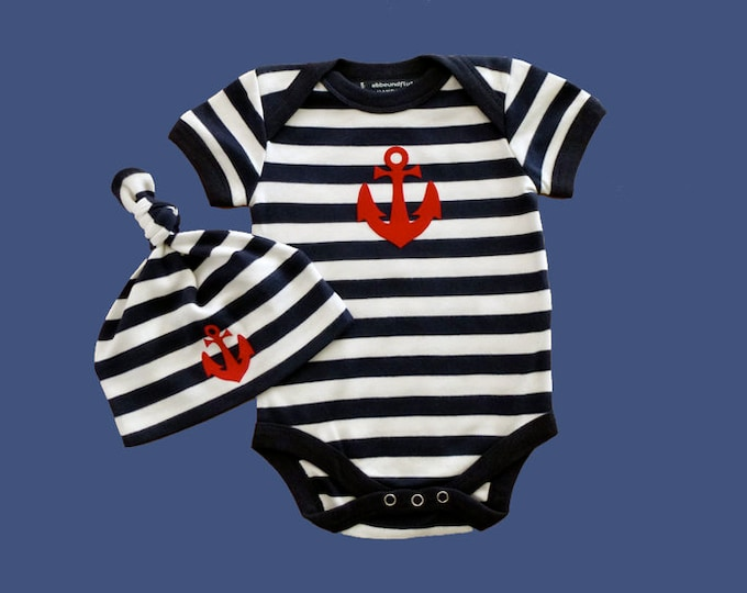 Baby-Body & Hat anchor Hamburg-Fair trade-blue white striped, gift for birth, babyset, baby gift, baby romper suits anchor Love