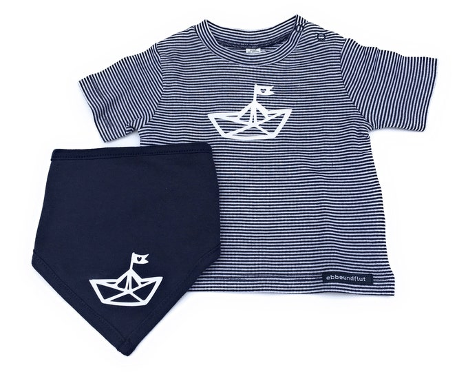 Maritime Baby Set Paperboat-Blue/white-Gift to Birth, Babyshirt & Neckerchief Paper Ships, Folding Boat, Hamburg Gift