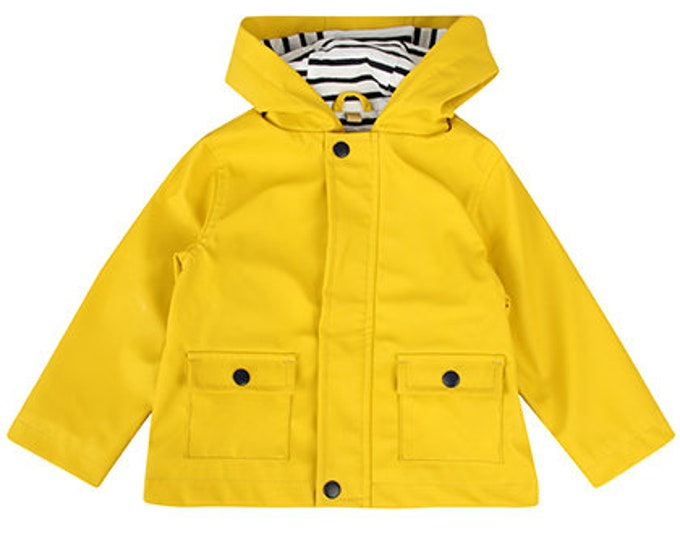 Rain jacket, friesme ore, yellow, lined, blue white striped, baby jacket, baby rain jacket, Hamburg, northern Germany