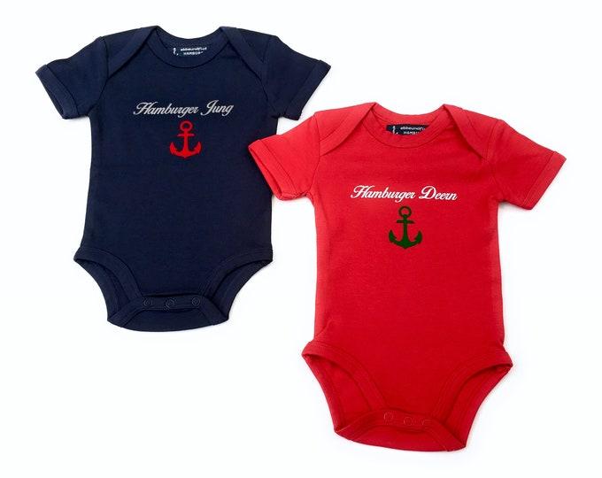 Maritime Baby Set - Baby Body Hamburger Young & Baby Body Hamburger Deern - Fair Trade, Baby Gift for Birth, Hamburg Gift Twins