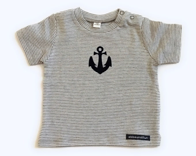 Maritimes baby-shirt anchor-grey/white Striped-fair & bio, Baby gift for birth, Babyshirt anchor, anchor love, shirt striped