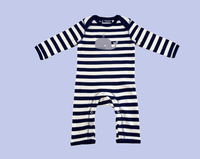 Maritime Baby strampler WAL-Fair Trade-Hamburg Gifts, Gift to Birth, Baby, Baby strampler, Baby Pyjama, Blue and White Striped