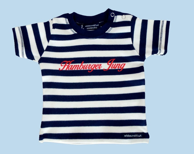 Maritime Baby Shirt Hamburger Jung-fair trade-blue white, Hamburg gift, gift for birth, baby, baby gift, baby T-shirt