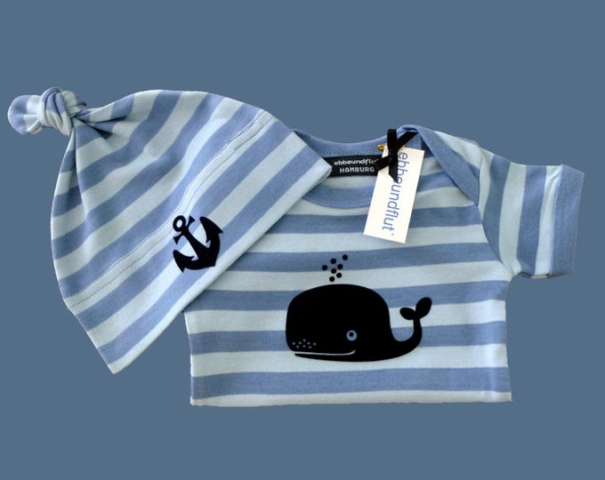 Maritime Baby-body wal & Hat Anchor-fair-hamburg gifts, gift for birth, baby, baby romper suits, baby set, Baby shower, Babysuit