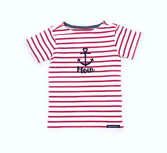 "Kids T-Shirt ""Moin"" - White/Red - Fair Trade & Organic - Kids Shirt, Striped Shirt maritim with Anchor, Kiel, Hamburg, East Frisia"