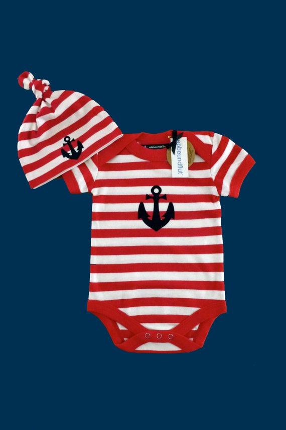 Maritime Baby Set Anchor - Fair Trade & Organic - Red White - Baby Gift for Birth, Baby Set Anchor, Hat and Baby Bodysuit