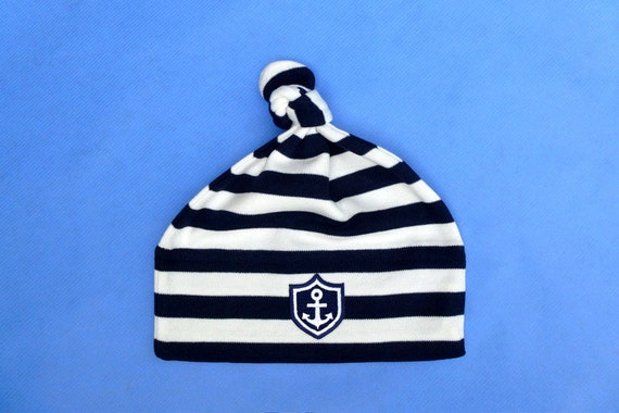 "Baby Hat ""Little Captain"" - Blue Striped - Fair Trade, Hamburg Gifts, Birth Gift, Baby, Baby Party, Baby Gift, Hat"