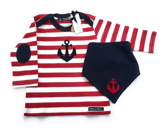 Maritime Set Long Sleeve Shirt & Cloth Anchor Red/White/Blue - fair - Hamburg Gifts, Birth Gift, Baby Set, Ship, Hamburg