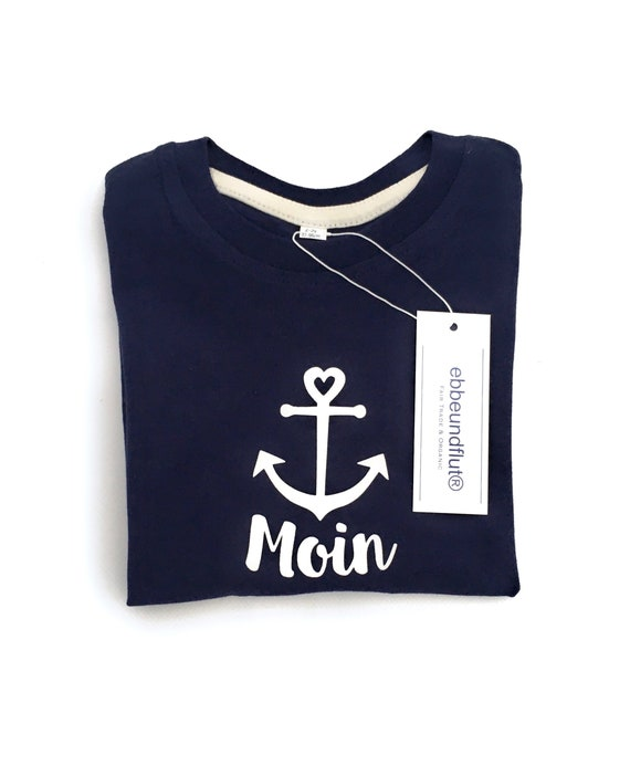 "Kids T-Shirt ""Moin"" - Fair Trade & Organic - Dark Blue Shirt Moin with Anchor, East Frisia, North Sea, Baltic Sea, Coast, Northern Germany"