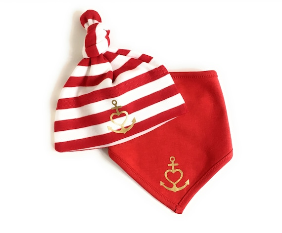 "Babyset Hat & Neck Scarf ""Anchor with Heart"" Faith, Love, Hope - Red White Gold - Baby Gift at Birth, Anchor, Heart, Love, Baptism"