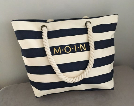 Maritime Beach Bag MOIN - Large Bag, Shopping Bag made of linen Canvas, Large striped beach bag, maritime, low and high tide