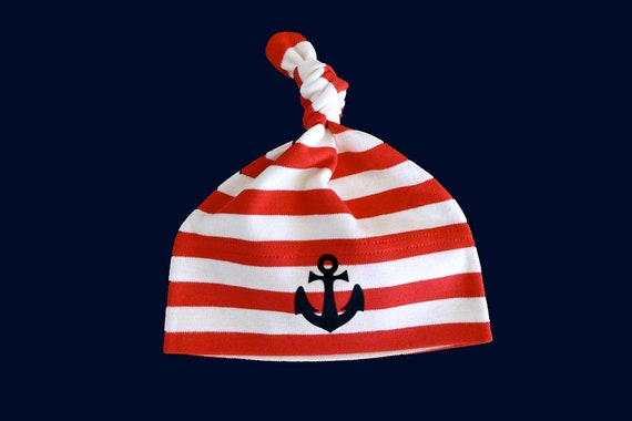 Maritime Baby Hat Anchor Hamburg Red White - Fair Trade & Organic - Knot Hat Striped Baby Hat Anchor, Baby Gift for Birth