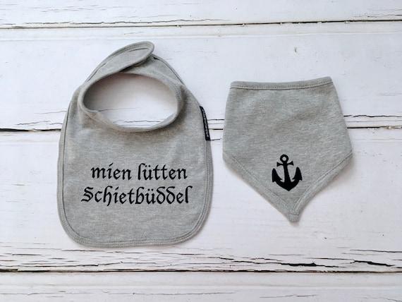 "Set ""Schietbüddel"" Scarf & bib-light grey-fair-Hamburg gifts, gift for birth, toddler, Schietbüdel, drool bib, bandana"