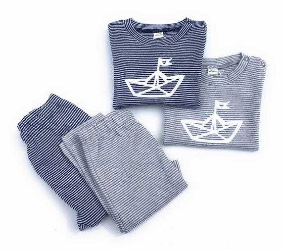 Maritime Zwillings Set Paperboat-fair & bio-baby gift to birth, 2-seer set for twins, Newborn set, boat, ship, set for boys