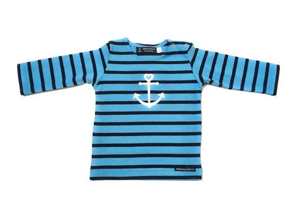Baby Shirt Anchor with Heart in Aqua Blue - Breton Baby Shirt maritim with Anchor, Breton Shirt Baby, Baby Gift for Birth